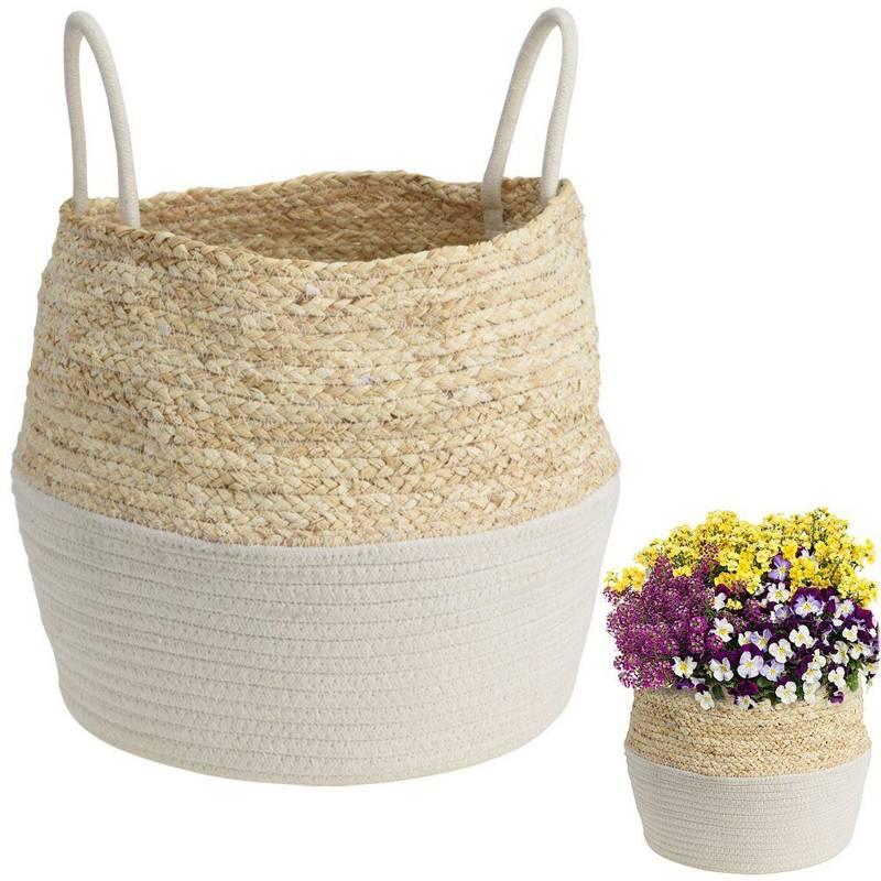 Capac de protecție, ghiveci, coș boho, alb, țesut, pentru ghiveci, flori, plante, 40x32 cm