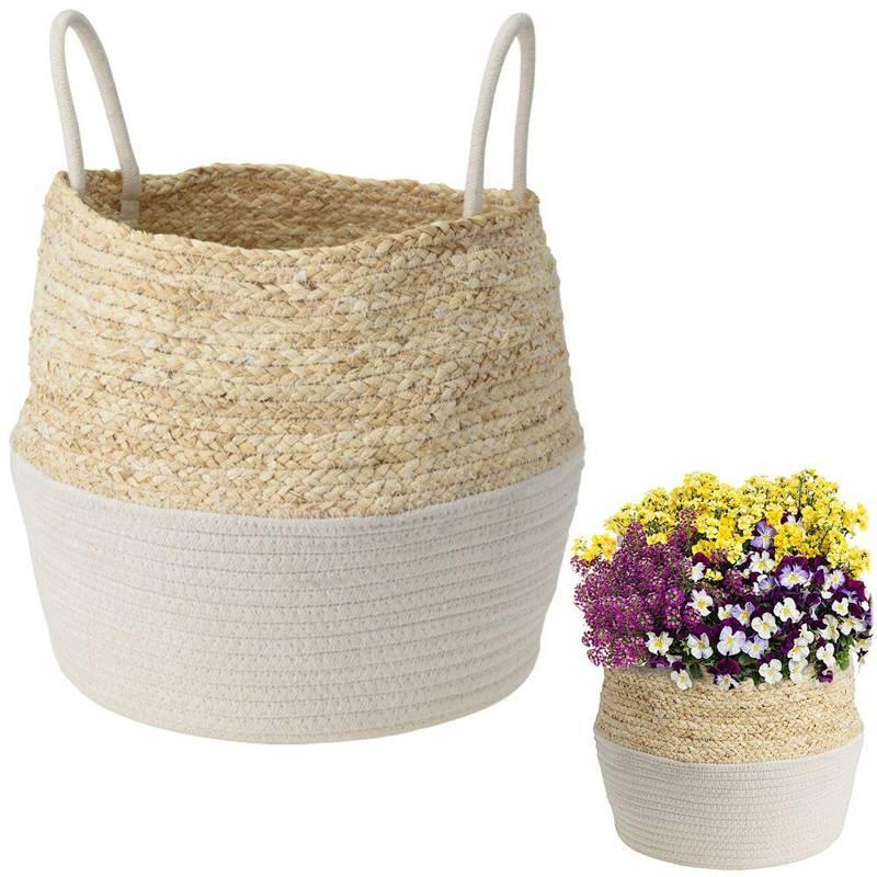 Carcasă, ghiveci, coș boho, alb, țesut, pentru ghiveci, flori, plante, 34x28 cm