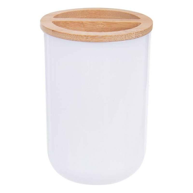 Coș de gunoi, cană de baie, organizator de periuțe de dinți, alb, bambus