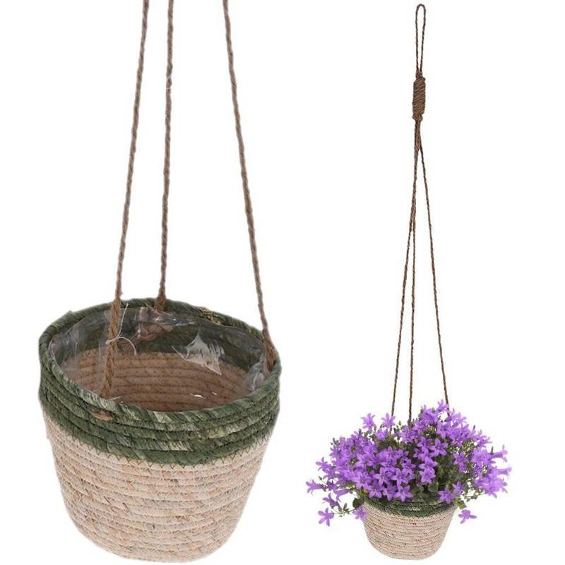 Ghiveci de flori, capac de agățat țesut, suport de plante agățat boho, floare, 20 cm