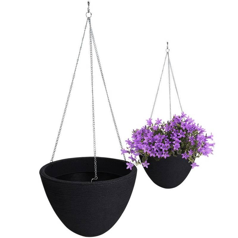 Ghiveci de flori suspendat, gri, ghiveci de flori suspendat de grădină, pentru balcon, terasă, 33 cm