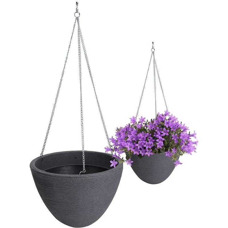 Ghiveci de flori suspendat, gri, ghiveci de flori suspendat, grădină, balcon, terasă, 33 cm