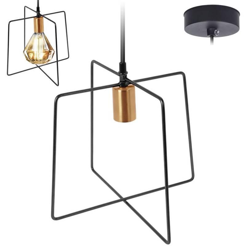 Lampă metalică, suspendată, plafon, aur negru, suport de lampă, soclu, carcasă, becuri