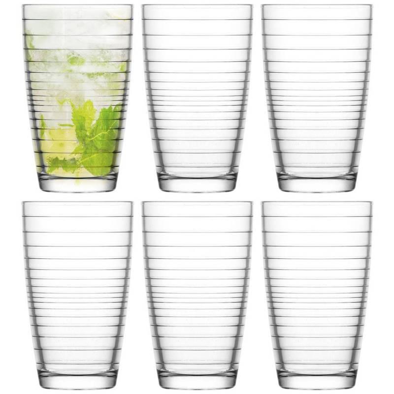 Pahar de băut pentru apă, suc, limonadă, băuturi, cafea, latte cu gheață, 415 ml, 6 bucăți, set, set de pahare