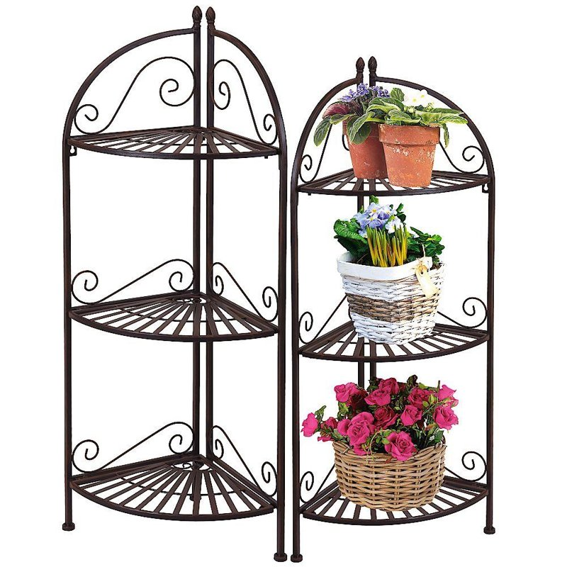 Raft metalic de colț pentru flori, plante și ierburi aromatice, cu 3 nivele, 38x27x93 cm