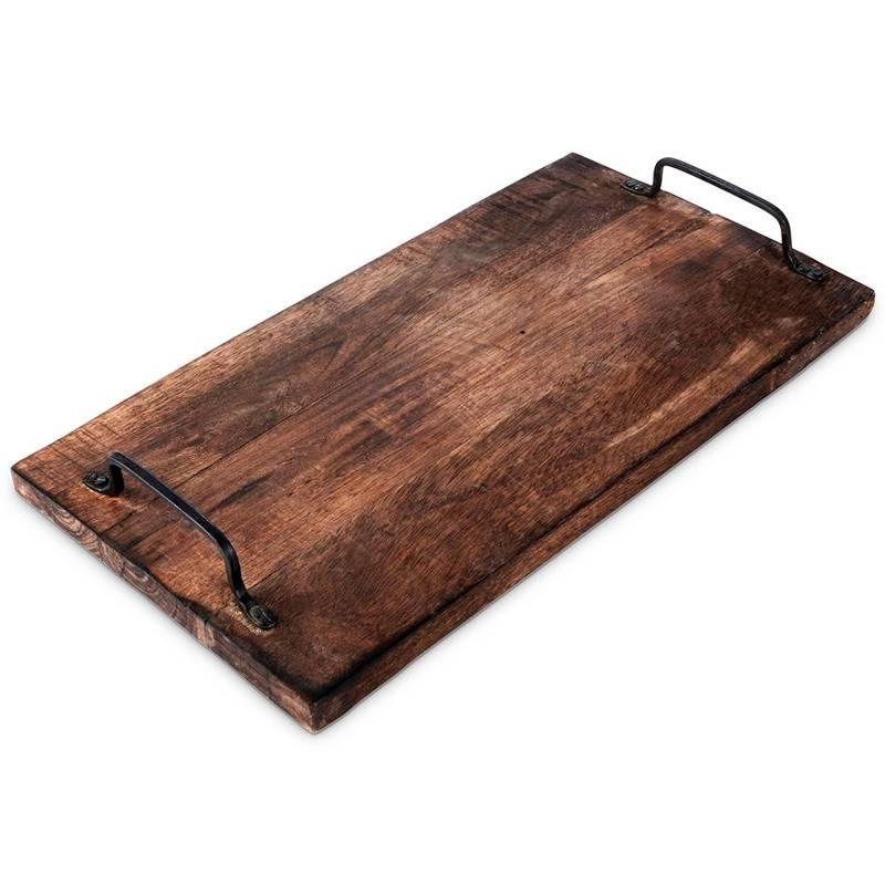 Scândură de bucătărie din lemn de mango, placă de servit, 40x22 cm, tavă, cu mânere
