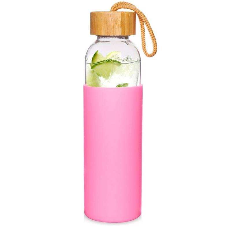 Sticlă de sticlă siliconată pentru apă, suc, limonadă, smoothie, cocktail, 0,5 l, roz