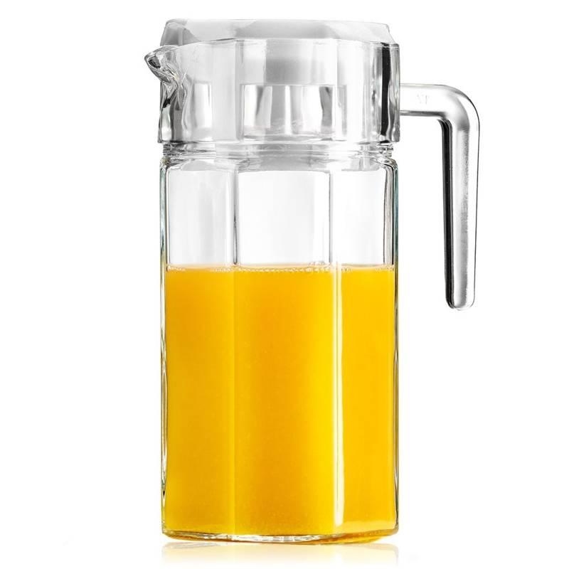 Ulcior din sticlă pentru apă, compot, băuturi și limonadă, cu mâner și capac, 1,5 l
